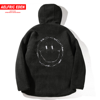 Aelfric Eden Vintage Smliely Embroideried Men Hooded Parka Casual Jacket Coats Winter Harajuku Fashion Streetwear Male Overcoats