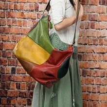 Genuine Leather Women Hobos Bag Handwork Vintage style Patchwork Real Leather Sh