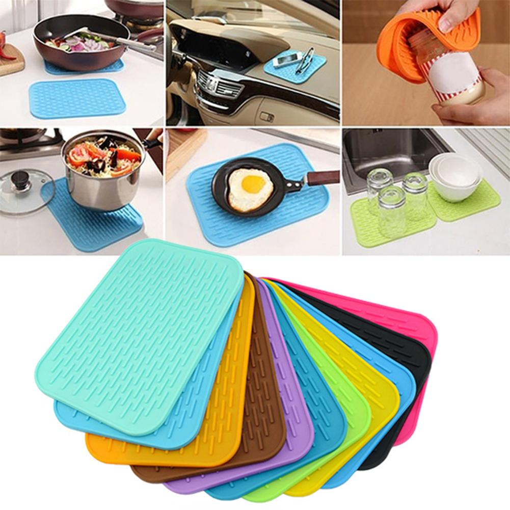 Hot ! Kitchen Silicone Heat Resistant Table Mat Non-slip Pot Pan Holder Pad Cushion Protect Table Tool Heat Resistant Table(China)