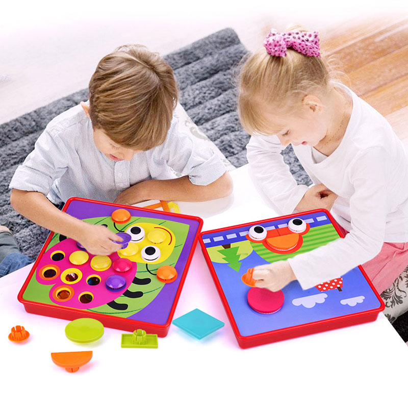 Composite Picture Puzzle 3D Puzzle Toys Creative Mosaic Mushroom Nail Kit Children's Educational Toys Game Kids Button Art Toy