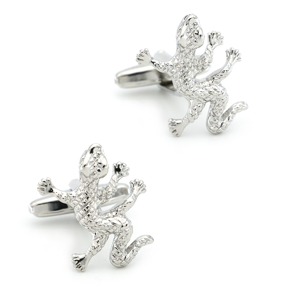 House Lizard Cuff Links For Men Wall Gecko Design Quality Brass Material Silver Color Cufflinks Wholesale&retail