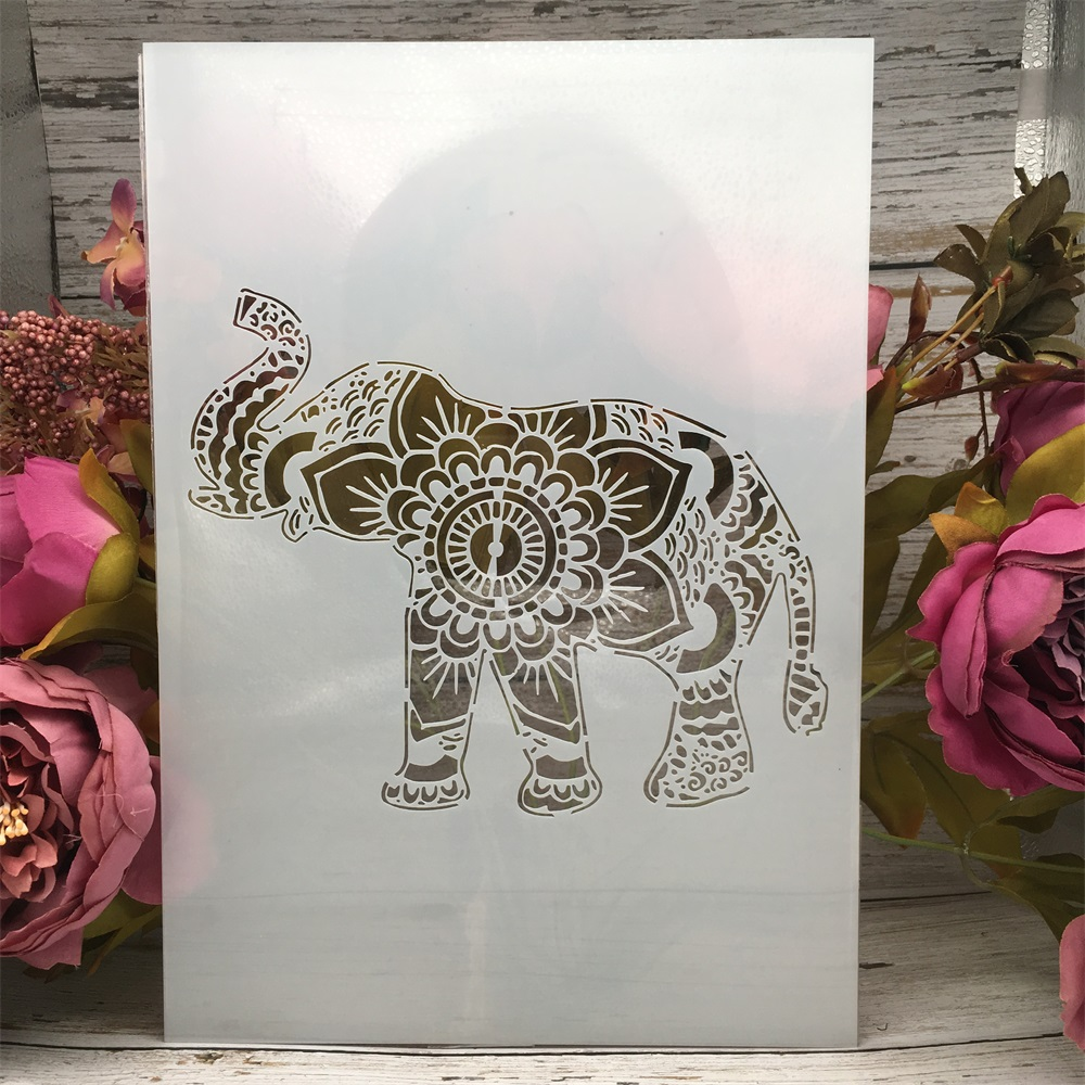 A4 29cm Elephant Up Nose DIY Layering Stencils Wall Painting Scrapbook Coloring Embossing Album Decorative Paper Card Template