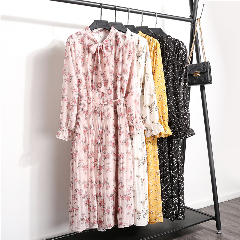 New Women's Floral Print Pleated Chiffon Dress 2019 Spring Autumn New Female Casual Flare Sleeve Lace Up Bow Neck Basic Dresses