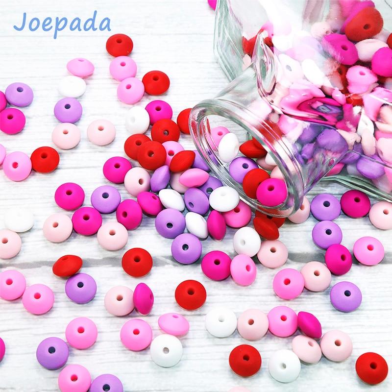 Купить с кэшбэком Joepada 60Pcs/lot 12mm Lentils Silicone Beads Abacus Shape for DIY Baby Teething Necklace Chain Food Grade Baby Teether BPA Free