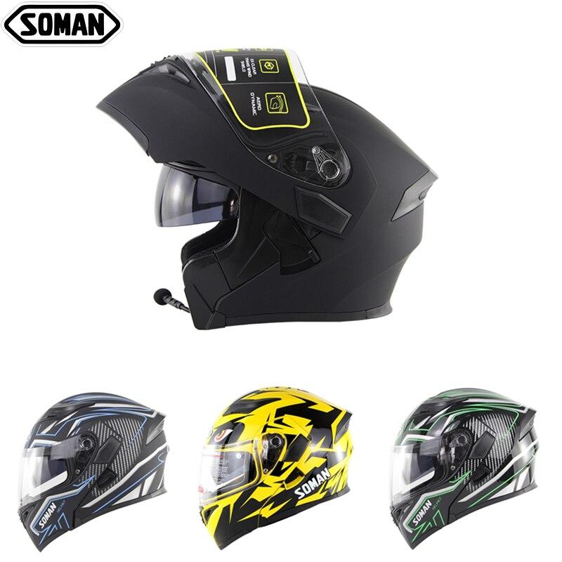 SOMAN Motorcycle Helmet Bluetooth Dual Lens Full Face Helmet Racing Motorbike With Bluetooth Headset Flip Up Modular Casco Moto