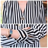Casual black striped shirt women blouse long sleeve V-neck chiffon shirt fashion Korean ladies basic OL work shirt female tops 5