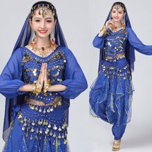 Adulto lantejoulas roupas de dança do ventre feminino oriental indiano trajes de dança de mangas compridas camisa superior + calças de dança do ventre terno