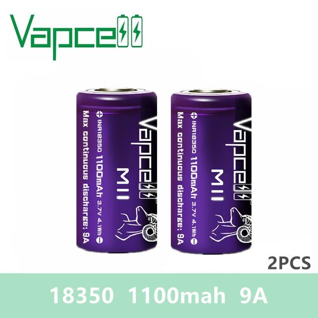 Livraison gratuite 2 pièces VAPCELL 18350 batterie 1100mAh 9A lithium 3.7V mini batterie rechargeable au lithium Cigarette électronique E CIG