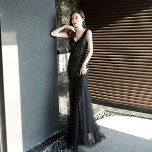 Image 5 - סקסי בת ים שמלת ערב עמוק V צוואר נצנצים ארוך שמלה אלגנטי Vestido דה פיאסטה Robe Ruffules פורמליות שמלת YNY 16538 #