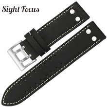 20mm 22mm Calf Leather Strap for Hamilton Classic Jazz Seiko Watch Band Rivet Mi