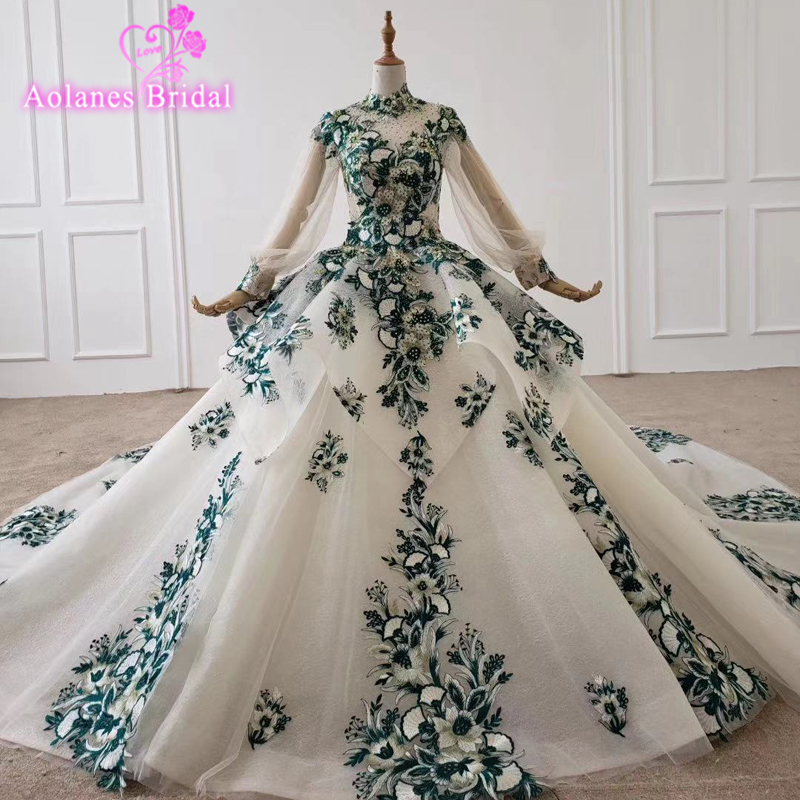Vintage Sweet Ball Gown Quinceanera Dresses Green Lace 3d Floral Cinderella Beaded Arabic Vestidos De 15 Anos Long Party Dresses