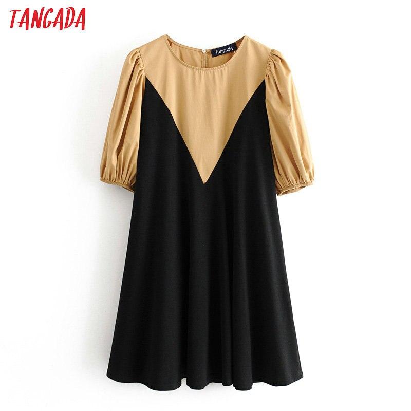 Tangada Fashion Women Patchwork Shirt Dress O Neck Short Sleeve Ladies Vintage Short Dress Vestidos 3H247