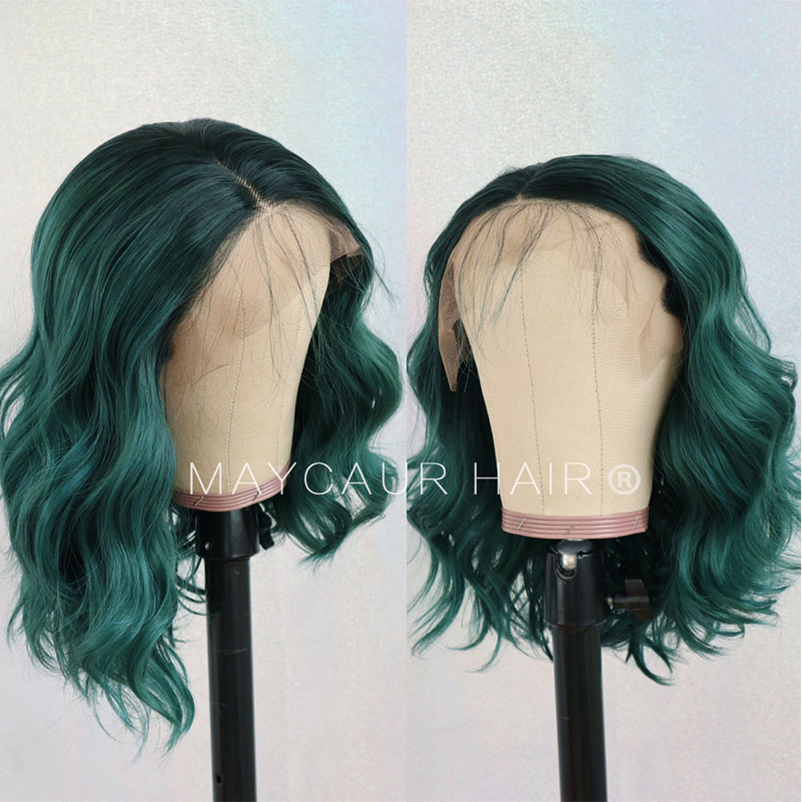 Image 4 - 2 Tones Black Ombre Green Synthetic Lace Front Wigs Heat Resistant Fiber Hair Dark Roots Short Body Wave Hair For Women-in Synthetic Lace Wigs from Hair Extensions & Wigs