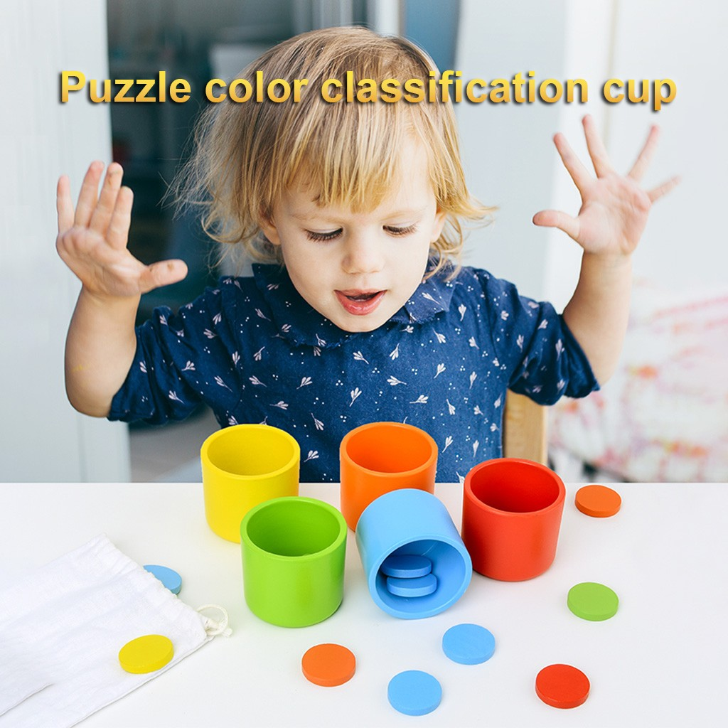 Education For Kids Fun Learning Toys For Children Wooden Learning Color Matching Cup Teaching Sets Educational Blocks  Toys W823