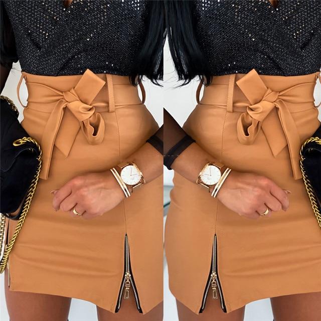 Sexy Women Black PU Leather Pencil Bodycon Skirt Clubwear Double Zipper High Waist Mini Short Skirt Belt Black White Khaki Skirt 6