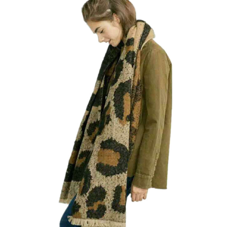 Europe And America Autumn And Winter Circle Sand Large Leopard-print Scarf Women's Faux Cashmere Thick Plaid Scarf Shawl Tonglu