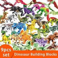 9pcs/set Jurassic Dinosaur World Park Building Blocks figures Baseplate playmobil Toys for childrens