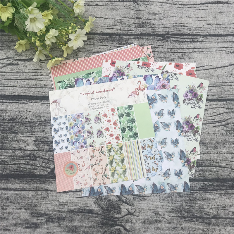 """12pc 6""""X6""""The Flamingo Flower Garden patterned paper Scrapbooking paper pack handmade craft paper craft Background pad 1"""