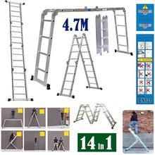 4.7m Multifunctional folding ladder Telescopic Ladder Folding Ladder Extension Ladder Tool 16-step aluminum ladder for Home HWC