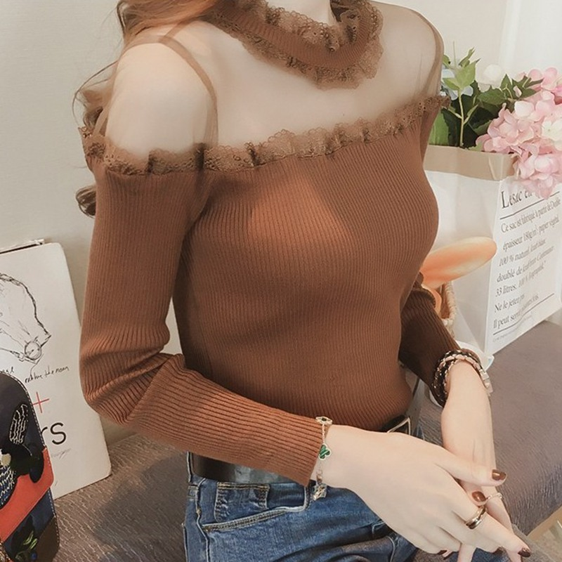 Sexy Off Shoulder Sweater Lace Mesh Tops Elegant Knitted Women Sweaters Female Casual Solid Long Sleeve O-Neck Sweater