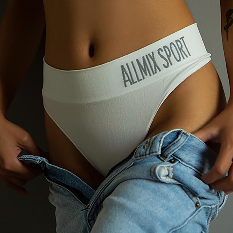2020 Arrival Sexy Mid Waist Sport Panties SeamlessThong G String Women Cotton Underpants Lingerie Tanga Lady Briefs Underwear