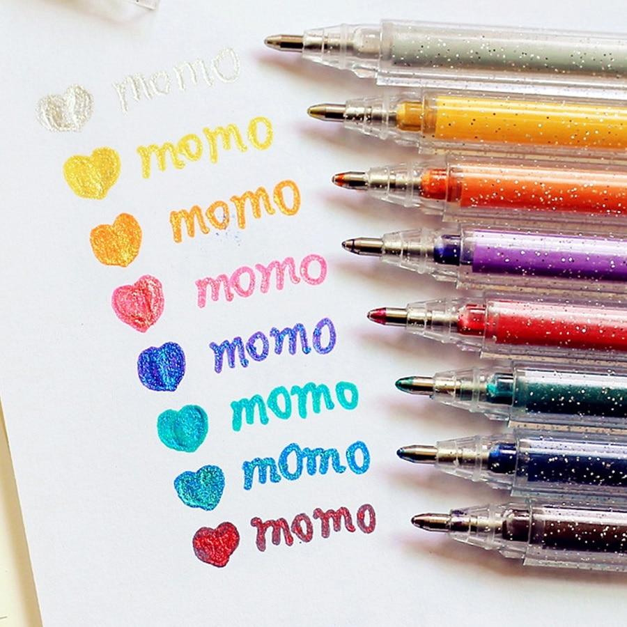 8 Colors Highlighter Pen Set Bling Bling Glitter Color Marker Pens Drawing Scrapbook Album Tools DIY Stationery School Art F596