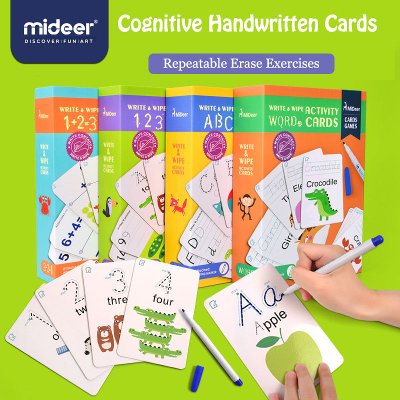 MiDeer  English Learning Word Card Early Education Learning Toy Writing Card Children's Game Word Pocket Card Gifts >3 Years Old