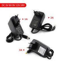 Постоянного тока 5В 9В 12В 24В Питание адаптер 1A 2A 3A, постоянный ток, 5, 9, 12, 24 V Вольт Мощность адаптера переменного тока DC Swiching ЕС 220V 12В/24В Светодиодная лента