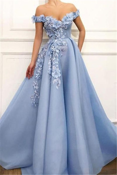 2019 Prom Dresses off the shoulder Evening Dresses Flowers Appliques Beautiful Princess dress Tulle Backless robe de soiree 2