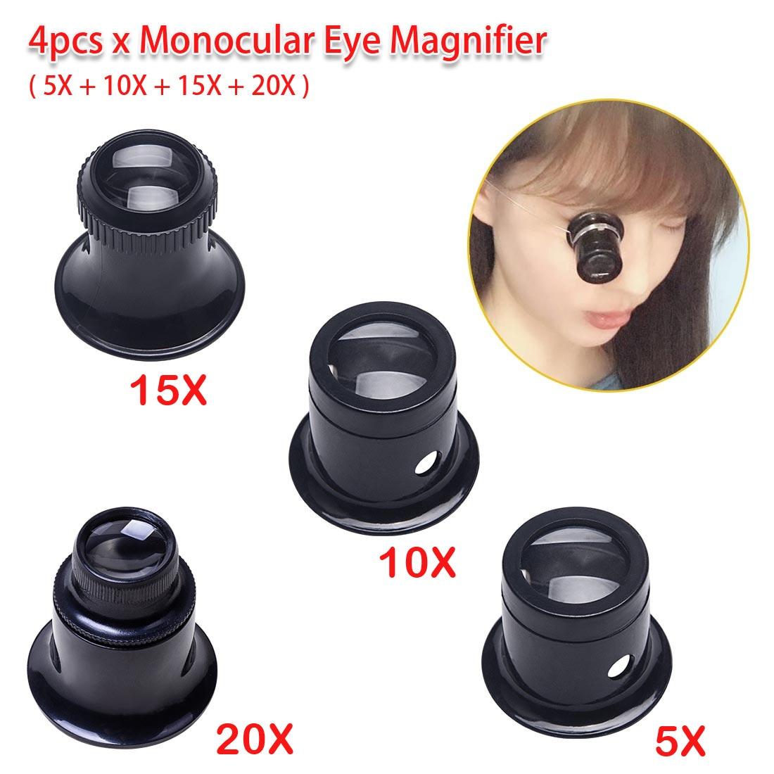 4pcs Portable 5X 10X 15X 20X Monocular Magnifying Glass Loupe Lens For Jeweler Watch Magnifier Tool Eye Magnifier Len Repair Kit