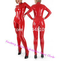 Red Latex High Collar Catsuit Tight Latex Rubber Zentai With Latex Socks Handmade High Quality Tights Suit