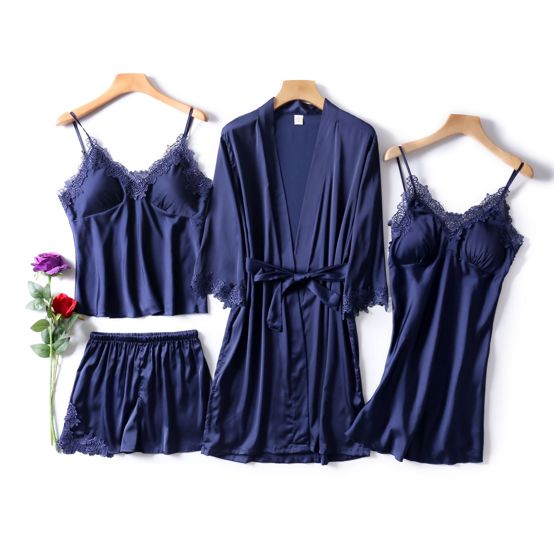 2019 New Style With Chest Pad Spaghetti Strap Pajamas Shorts Women's Sexy Nightgown Women's Robes Four-piece Set Silk Pajamas Sp
