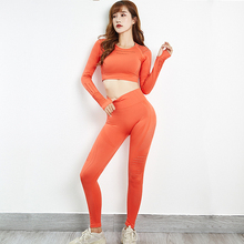 Gym 2 Piece Women Yoga Sets Seamless Sports Shirts Long Sleeve High Waist Fitness Leggings Yoga Pants Workout Clothes For Women