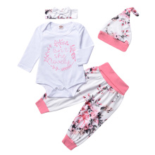 AmzBarley Baby girls 4pcs clothes set long sleeves rompers+floral trousers+headband+hat Autumn outfits newborn cotton