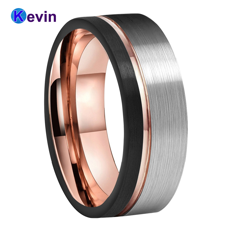Mens Womens Wedding Band Tungsten Carbide Ring Black Rose Gold With Offset Groove And Brush Finish 4