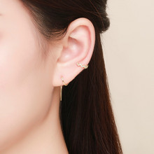 BISAER 2019 New 925 Sterling Silver Gold Color Chain Earrings for Women Long Drop Earing Fashion Jewelry Brincos 2019 GXE468