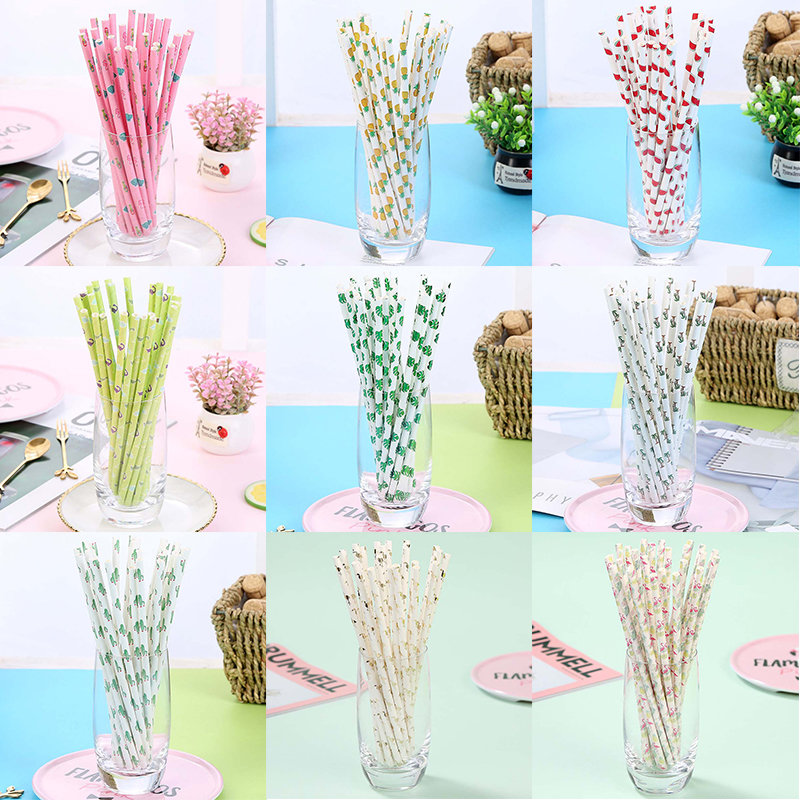 25pcs Disposable Paper Straws Creative Mixed Drinking Straw Birthday Party Decorations Kids Baby Shower Wedding Party Supplies