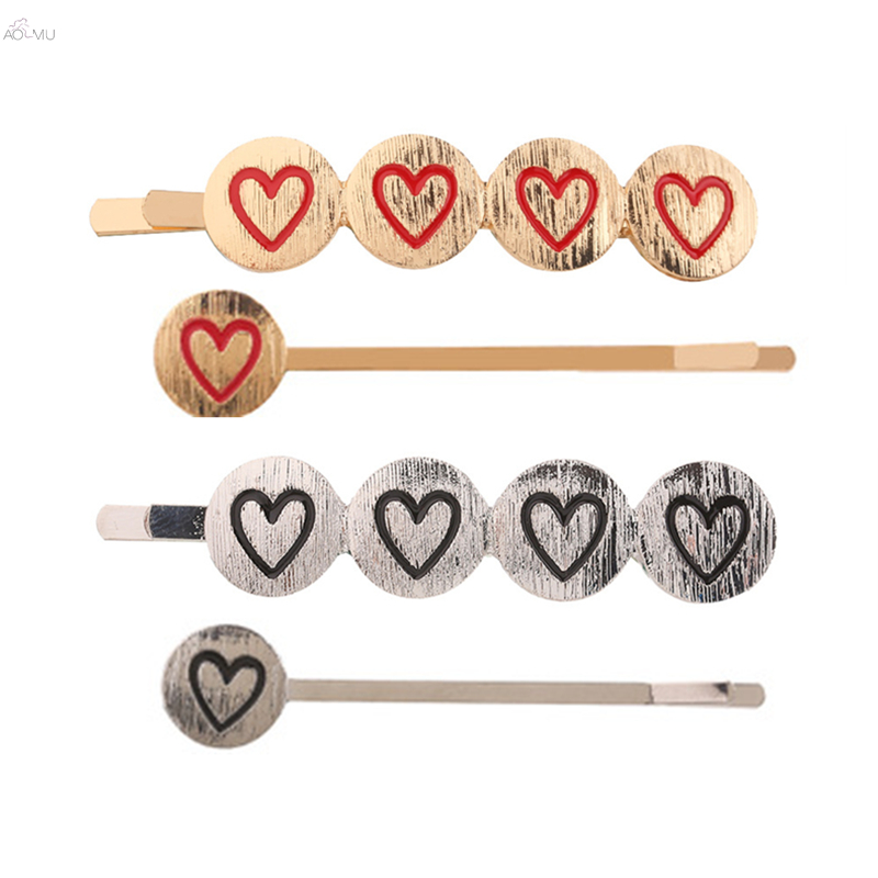 New Vintage Brushed Metal Hairpins Geometric Round Heart Gold Silver Color Hair Clips 2019 Hair Accessories For Women