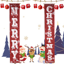 Merry Christmas Door Banner Red And Black Plaid Porch Sign New Year Xmas Decorations for Home Wall Door Party Outdoor Indoor reap 3102 shopia acrylic 297 120mm indoor horizontal wall mount sign holder display info poster elegant and modern door sign