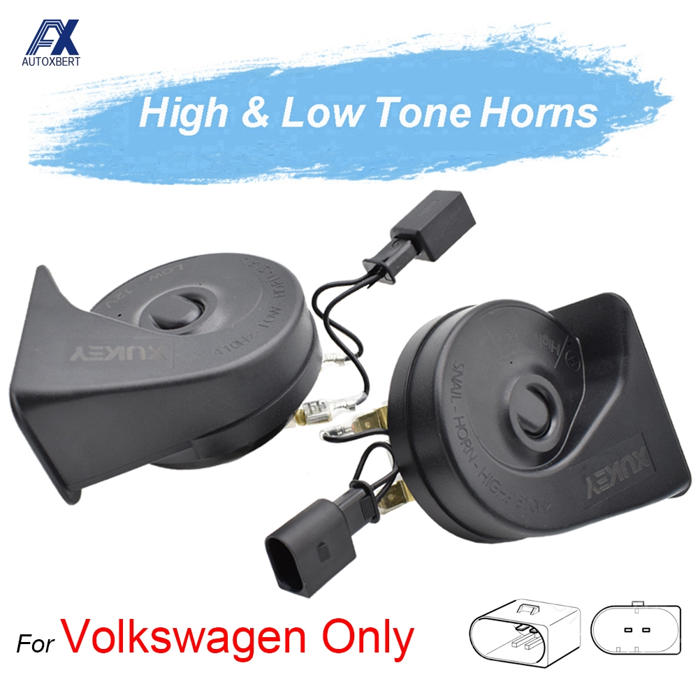 2 Twin Low /& High Tone Horns for VW Polo Tiguan Touareg Touran Sharan Phaeton