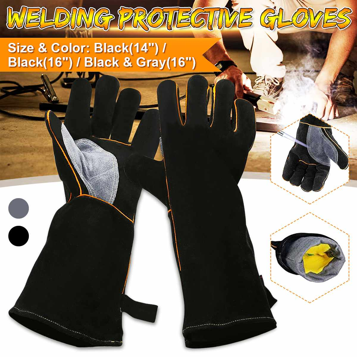14inch/16inch Work Welding Gloves Heat Resistant For Welders/Workers/Fireplace/Stove/BBQ/Gardening/DIY Wood Working