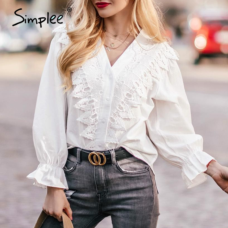 Simplee Elegant Lace Embroidery Blouse Shirt Women Puff Sleeve V-neck Back Lace Up Female Cotton Blouse Casual Ladies Top Shirt