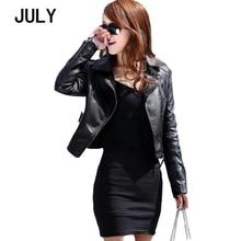 JULY Autumn Womens 2019 Punk Short Lapel Leather Coat PU Jacket Black Slim Zipper Faux