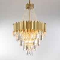 Led pós moderna de aço inoxidável lustre cristal arte deco ouro iluminação led lâmpada luz para foyer Lustres     -