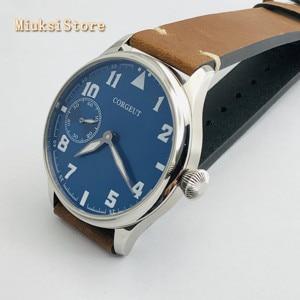 Image 3 - Corgeut Reloj de 44mm para hombre correa de cuero con carcasa plateada, 17 joyas, cuerda mecánica 6497, movimiento manual, reloj deportivo luminoso
