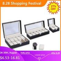 2/3/6/10 grilles PU cuir boîte de montre Case professionnel titulaire organisateur pour horloge montres bijoux boîtes présentoir meilleur cadeau