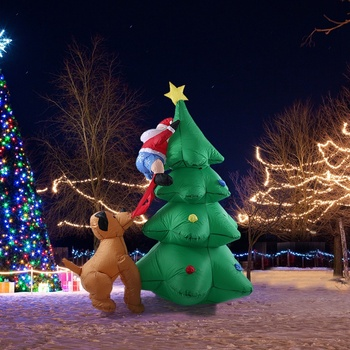 1.8M High Automatic Inflatable Christmas Tree Christmas Garden Decoration Spree Home Decor Party Supplies US Plug