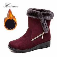 Hosteven Winter Boots Women Ankle Fur Plush Casual Warm bootee woman platform boots Female Shoes high quality women boots winter casual brand warm shoes plush fur fashion boots shoes woman xw 44