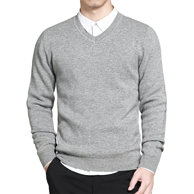 Slim Sweater Pollovers Men Casual Cotton Sweater Jumper Pullover Male Business V-Neck Knitwear Jersey Man Plus Size 4XL Black 04