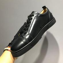 Men Fashion Brand Designer Red Bottom Sneakers Man Luxury Genuine Leather Casual Shoes Size 39-47